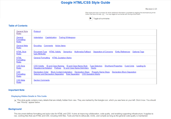 google html css style guide pdf