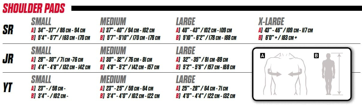 gilbert shoulder pads size guide